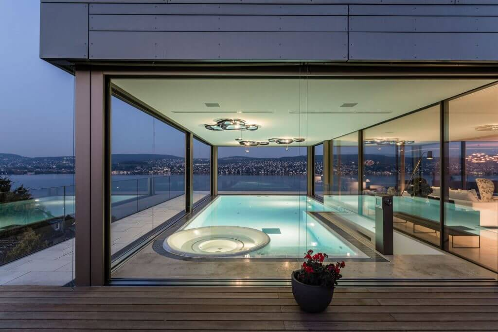 Luxury descending windows in a pool house