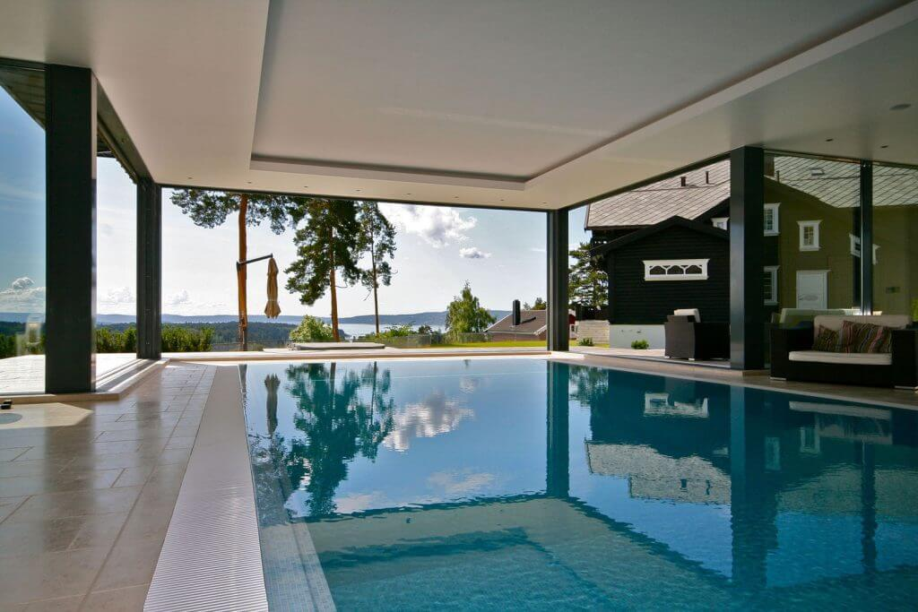 Large luxury windows in a pool area
