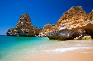 Beach with rocks on the South of Portugal