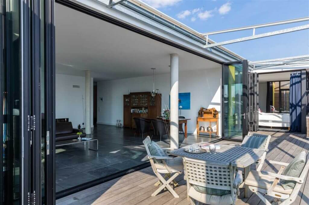 Luxury folding doors in opened position